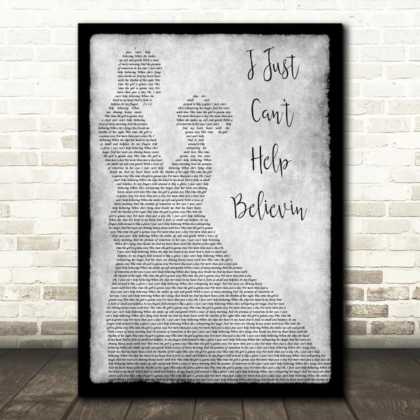 Elvis Presley I Just Can't Help Believin Man Lady Dancing Grey Song Lyric Print