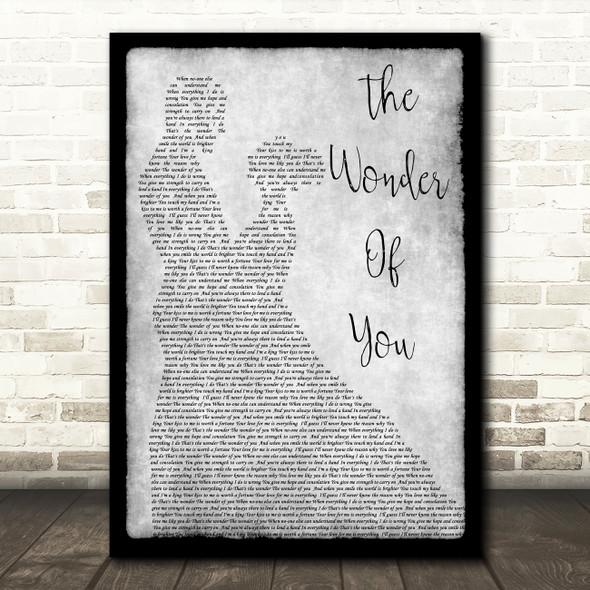 Elvis Presley The Wonder Of You Man Lady Dancing Grey Song Lyric Quote Print