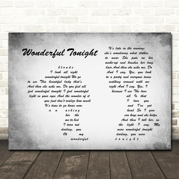 Eric Clapton Wonderful Tonight Man Lady Couple Grey Song Lyric Print