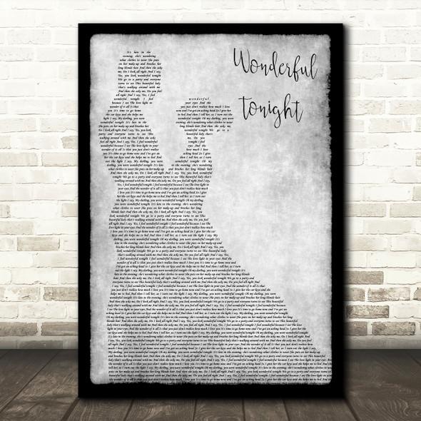 Eric Clapton Wonderful Tonight Man Lady Dancing Grey Song Lyric Print