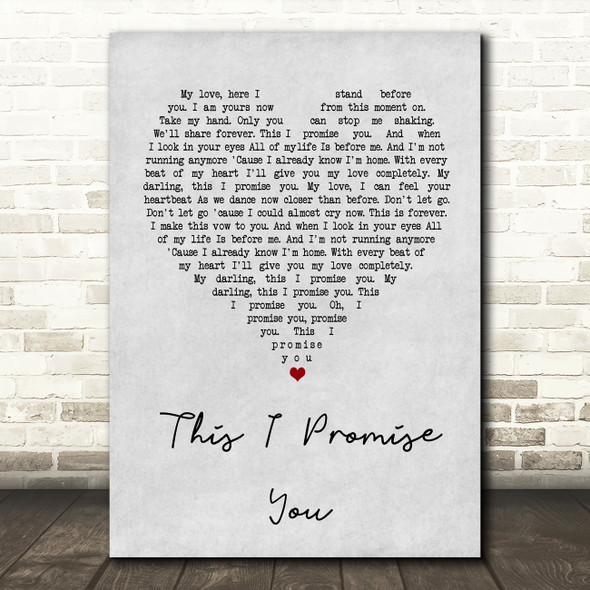 Ronan Keating This I Promise You Grey Heart Song Lyric Quote Print