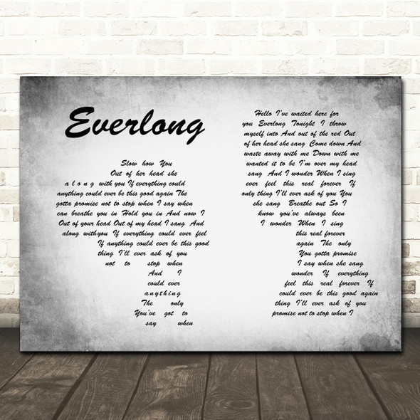 Foo Fighters Everlong Man Lady Couple Grey Song Lyric Quote Print