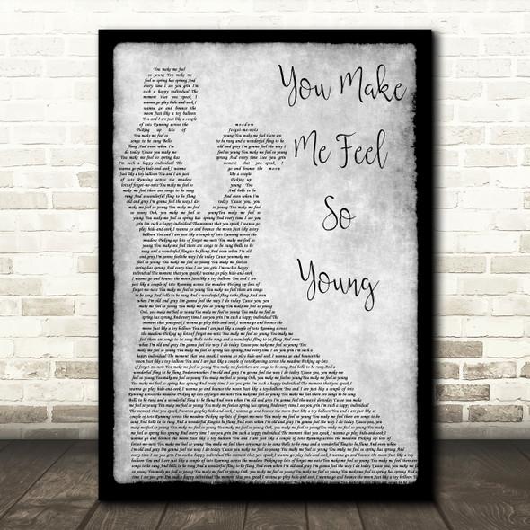 Frank Sinatra You Make Me Feel So Young Grey Song Lyric Man Lady Dancing Print