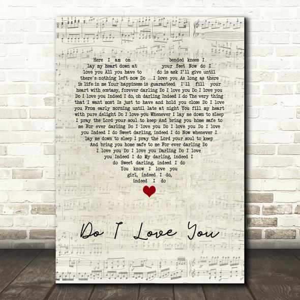 Frank Wilson Do I Love You Script Heart Song Lyric Print