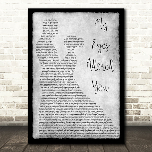 Frankie Valli My Eyes Adored You Man Lady Dancing Grey Song Lyric Quote Print