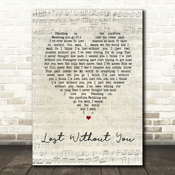 Freya Ridings Lost Without You Script Heart Song Lyric Print