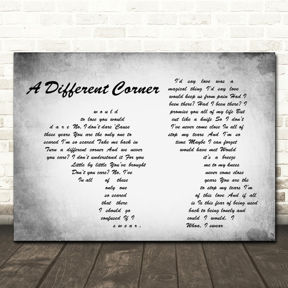 George Michael A Different Corner Man Lady Couple Grey Song Lyric Quote Print