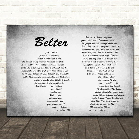 Gerry Cinnamon Belter Man Lady Couple Grey Song Lyric Quote Print