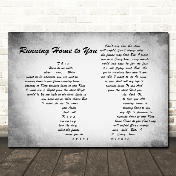 Grant Gustin Running Home to You Man Lady Couple Grey Song Lyric Print