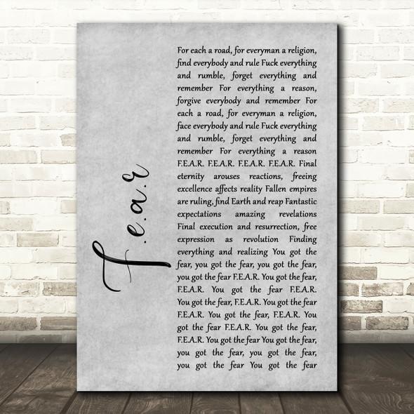 Ian Brown F.E.A.R Rustic Script Grey Song Lyric Print