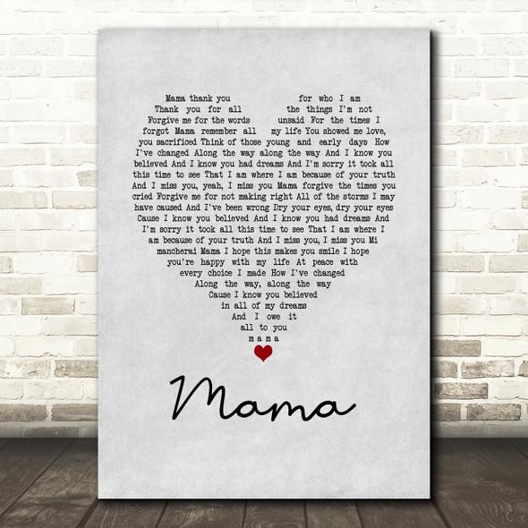 Il Divo Mama Grey Heart Song Lyric Print