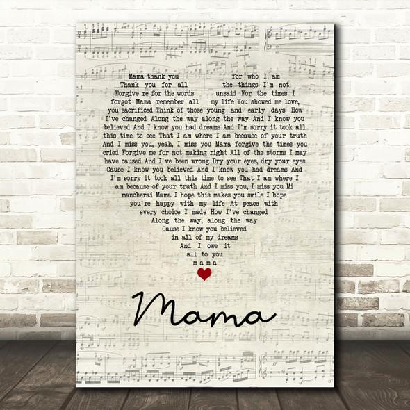Il Divo Mama Script Heart Song Lyric Print