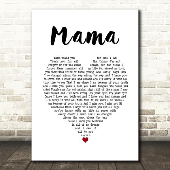 Il Divo Mama White Heart Song Lyric Print