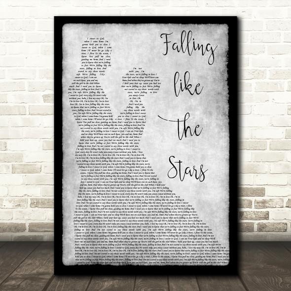 James Arthur Falling like the Stars Man Lady Dancing Grey Song Lyric Print