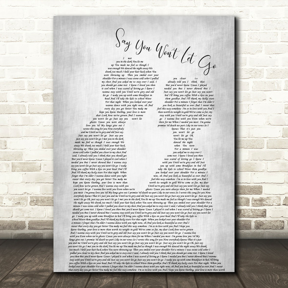 James Arthur Say You Won't Let Go Man Lady Bride Groom Wedding Grey Song Print