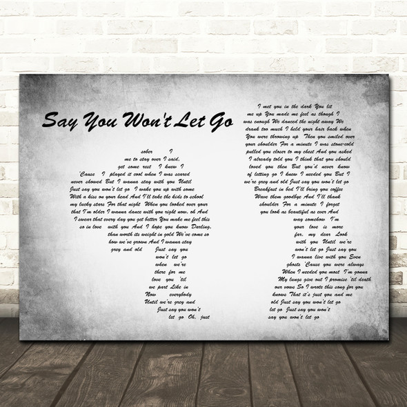 James Arthur Say You Won't Let Go Man Lady Couple Grey Song Lyric Quote Print