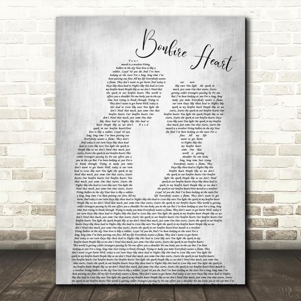 James Blunt Bonfire Heart Man Lady Bride Groom Wedding Grey Song Lyric Print