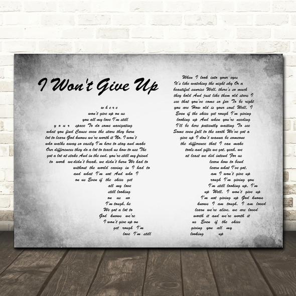 Jason Mraz I Won't Give Up Man Lady Couple Grey Song Lyric Quote Print
