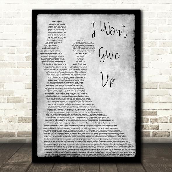 Jason Mraz I Won't Give Up Man Lady Dancing Grey Song Lyric Quote Print
