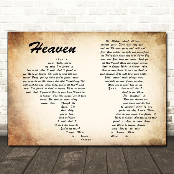 Bryan Adams Heaven Man Lady Couple Song Lyric Quote Print
