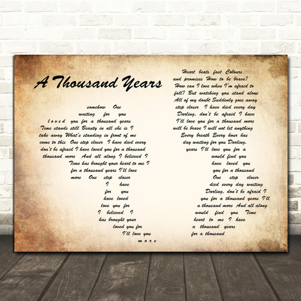 Christina Perri A Thousand Years Man Lady Couple Song Lyric Quote Print