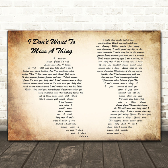 Aerosmith I Don't Want To Miss A Thing Man Lady Couple Song Lyric Quote Print