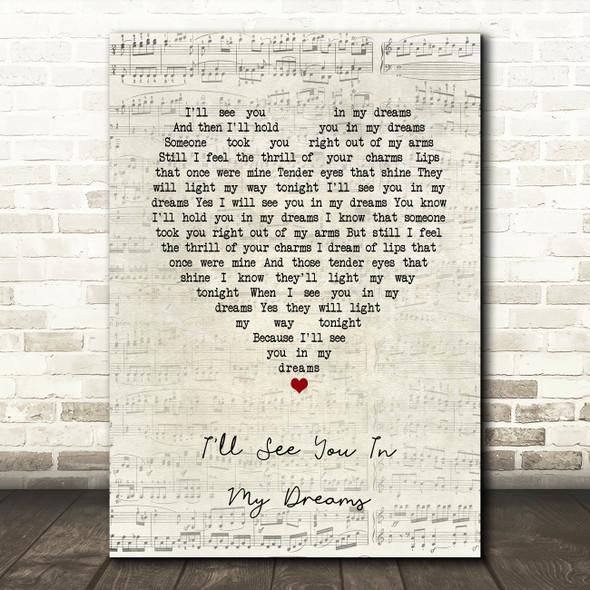 Joe Brown I'll See You In My Dreams Script Heart Song Lyric Print
