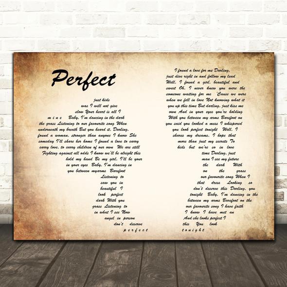 Ed Sheeran Perfect Man Lady Couple Song Lyric Quote Print