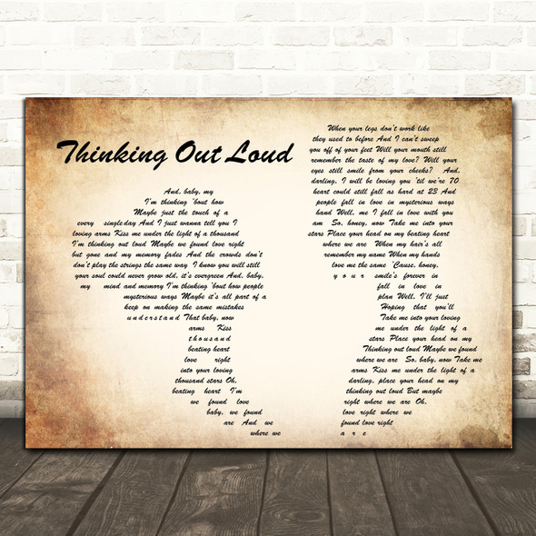 Ed Sheeran Thinking Out Loud Man Lady Couple Song Lyric Quote Print