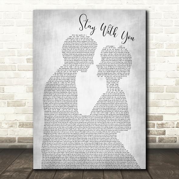 John Legend Stay With You Man Lady Bride Groom Wedding Grey Song Lyric Print