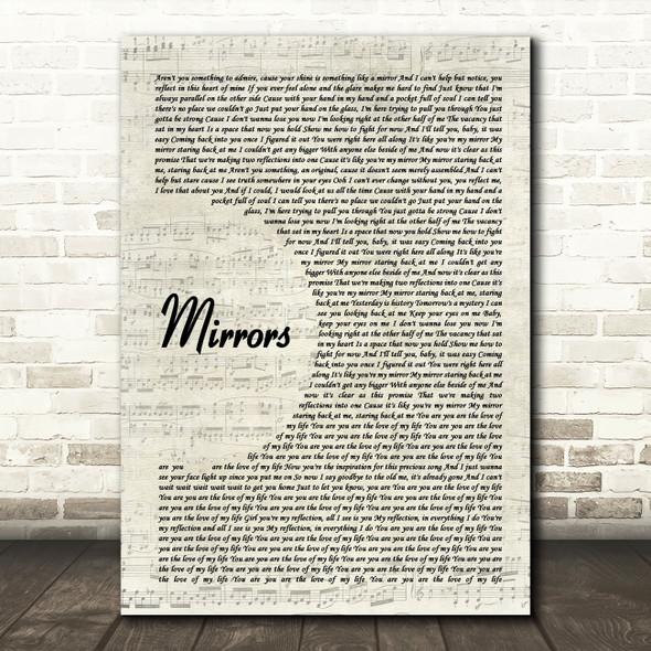Justin Timberlake Mirrors Vintage Script Song Lyric Print