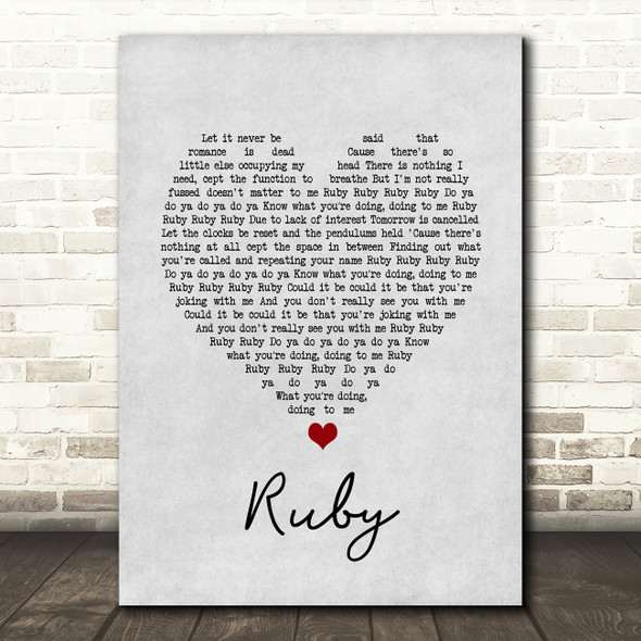 Kaiser Chiefs Ruby Grey Heart Song Lyric Print