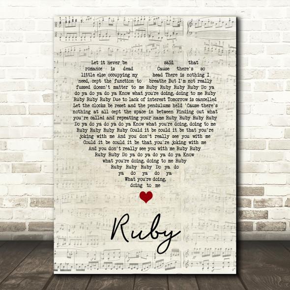 Kaiser Chiefs Ruby Script Heart Song Lyric Print