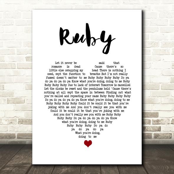 Kaiser Chiefs Ruby White Heart Song Lyric Print