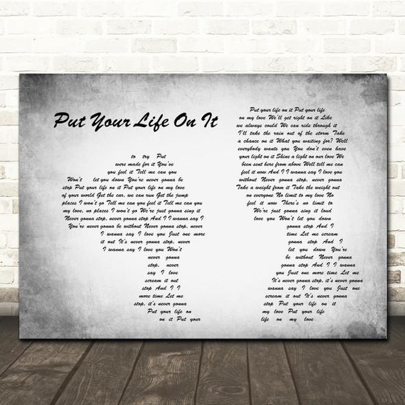 Kasabian Put Your Life On It Man Lady Couple Grey Song Lyric Print