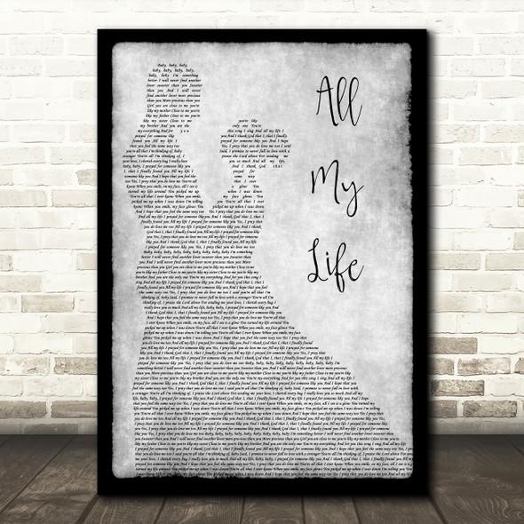 K-Ci & JoJo All My Life Man Lady Dancing Grey Song Lyric Quote Print