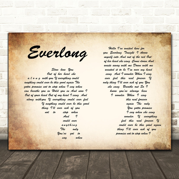 Foo Fighters Everlong Man Lady Couple Song Lyric Quote Print