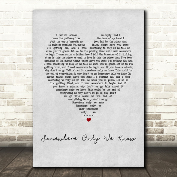 Keane Somewhere Only We Know Grey Heart Song Lyric Print
