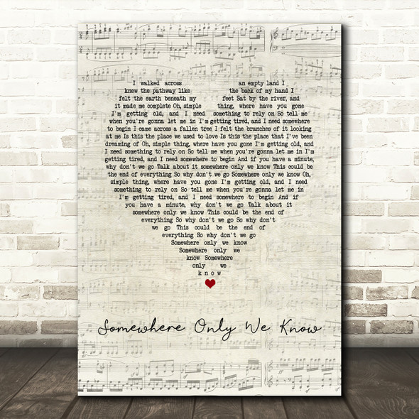 Keane Somewhere Only We Know Script Heart Song Lyric Print