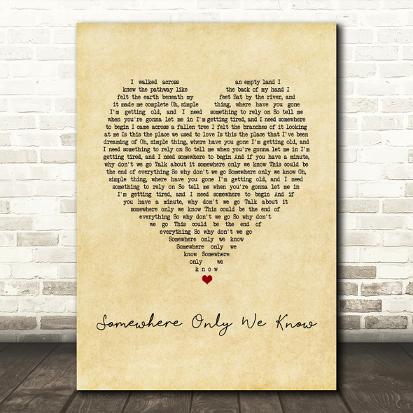 Keane Somewhere Only We Know Vintage Heart Song Lyric Print