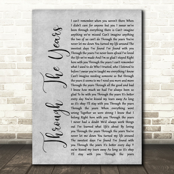 Kenny Rogers Through The Years Rustic Script Grey Song Lyric Print