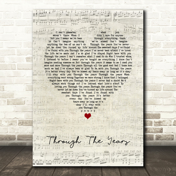 Kenny Rogers Through The Years Script Heart Song Lyric Print