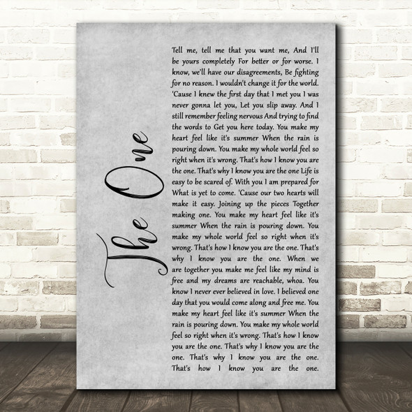 Kodaline The One Rustic Script Grey Song Lyric Quote Print