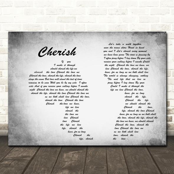 Kool & The Gang Cherish Man Lady Couple Grey Song Lyric Quote Print