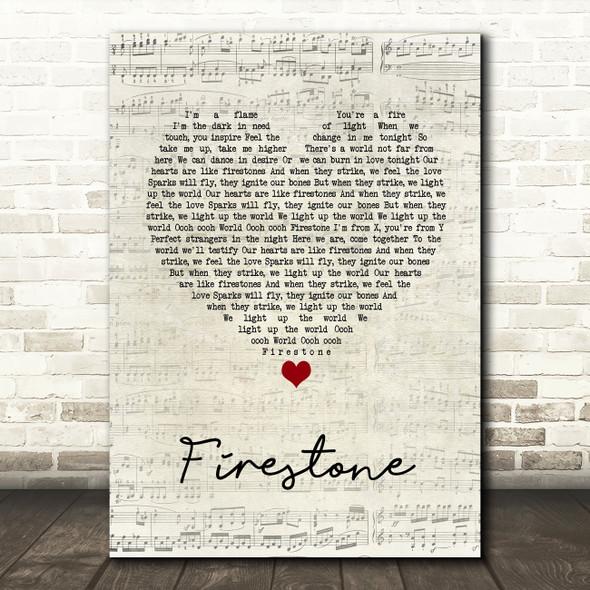 Kygo Firestone Script Heart Song Lyric Print