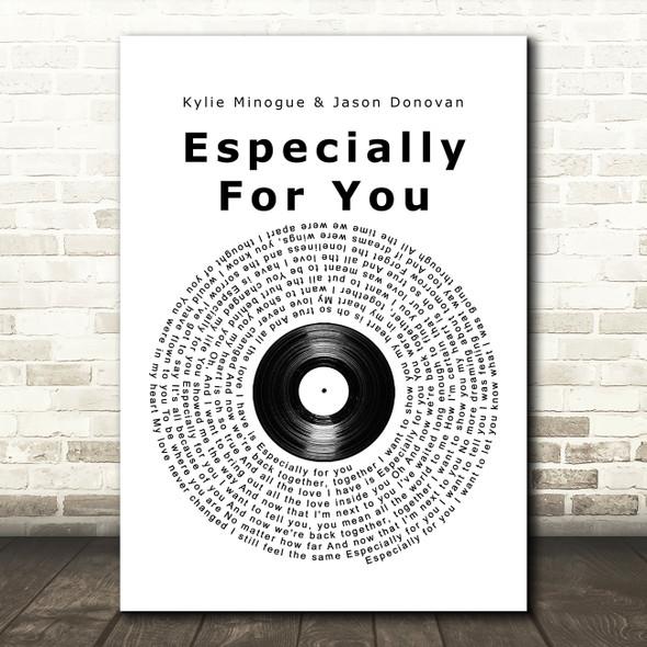 Kylie Minogue & Jason Donovan Especially For You Vinyl Record Song Lyric Print