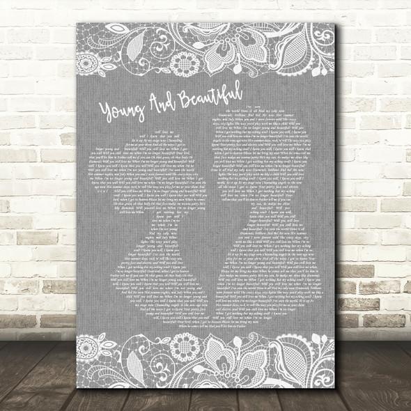 Lana Del Rey Young And Beautiful Burlap & Lace Grey Song Lyric Print