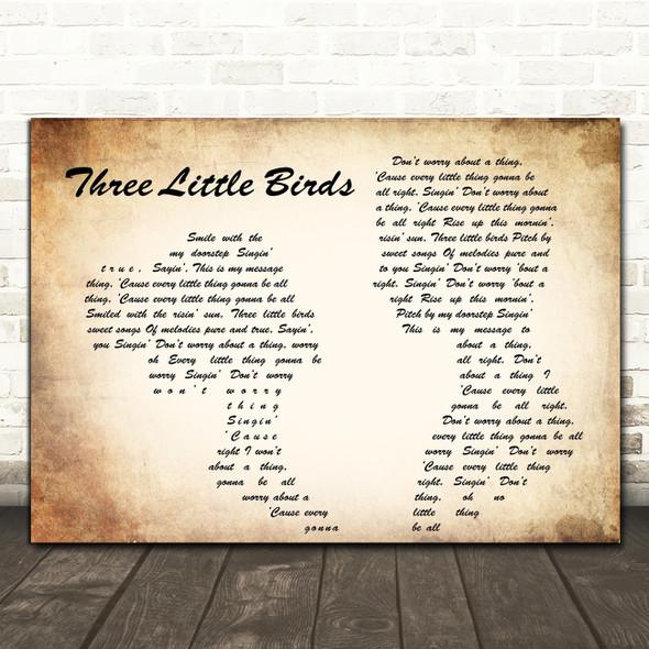 Bob Marley Three Little Birds Man Lady Couple Song Lyric Quote Print