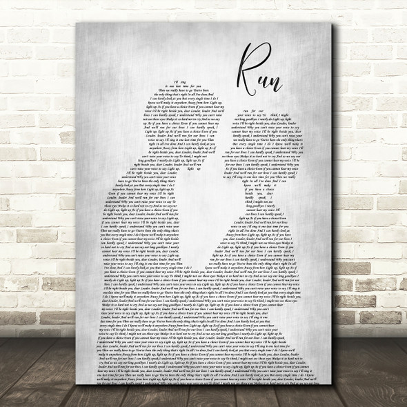 Leona Lewis Run Man Lady Bride Groom Wedding Grey Song Lyric Quote Print