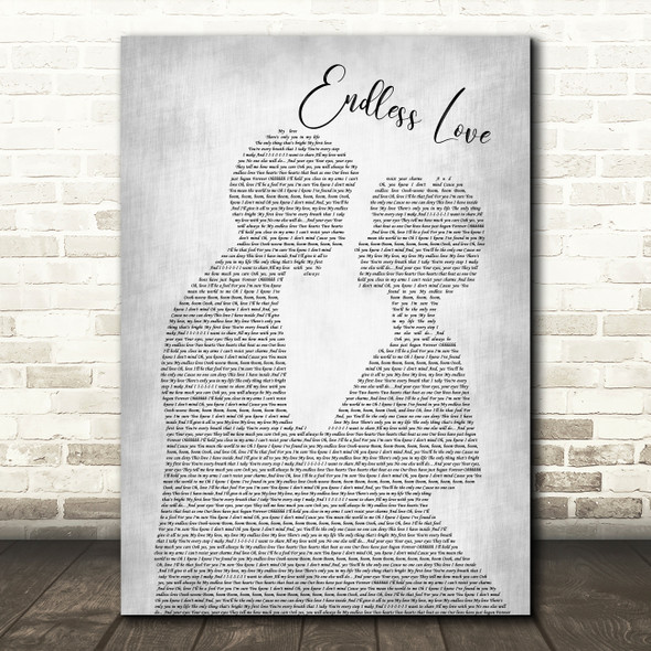 Lionel Richie & Diana Ross Endless Love Man Lady Bride Groom Grey Song Print